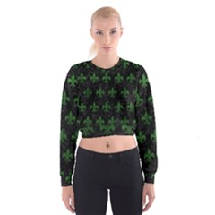 Royal1 Black Marble & Green Leather (r) Cropped Sweatshirt