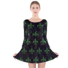 Royal1 Black Marble & Green Leather (r) Long Sleeve Velvet Skater Dress