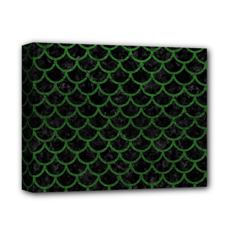 Scales1 Black Marble & Green Leather Deluxe Canvas 14  X 11