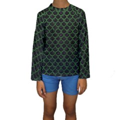 Scales1 Black Marble & Green Leather Kids  Long Sleeve Swimwear