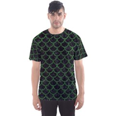 Scales1 Black Marble & Green Leather Men s Sports Mesh Tee