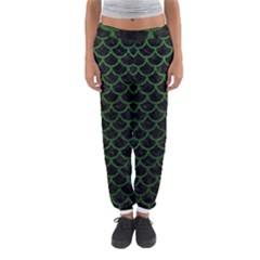 Scales1 Black Marble & Green Leather Women s Jogger Sweatpants