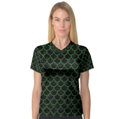 Scales1 Black Marble & Green Leather V Neck Sport Mesh Tee