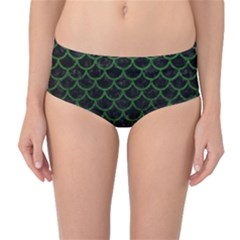 Scales1 Black Marble & Green Leather Mid Waist Bikini Bottoms