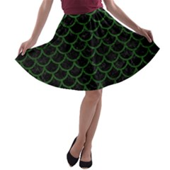 Scales1 Black Marble & Green Leather A Line Skater Skirt