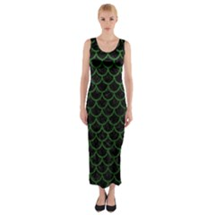 Scales1 Black Marble & Green Leather Fitted Maxi Dress