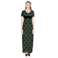 Scales1 Black Marble & Green Leather Short Sleeve Maxi Dress