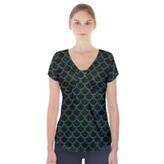 Scales1 Black Marble & Green Leather Short Sleeve Front Detail Top