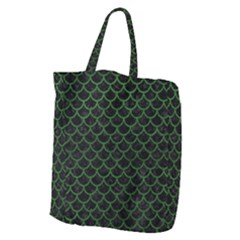 Scales1 Black Marble & Green Leather Giant Grocery Zipper Tote