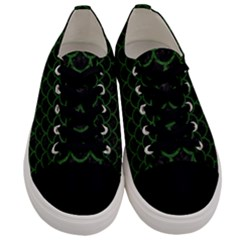 Scales1 Black Marble & Green Leather Men s Low Top Canvas Sneakers