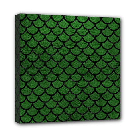Scales1 Black Marble & Green Leather (r) Mini Canvas 8  X 8