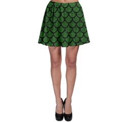 Scales1 Black Marble & Green Leather (r) Skater Skirt