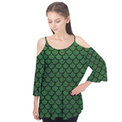 Scales1 Black Marble & Green Leather (r) Flutter Tees