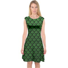 Scales1 Black Marble & Green Leather (r) Capsleeve Midi Dress