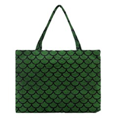 Scales1 Black Marble & Green Leather (r) Medium Tote Bag