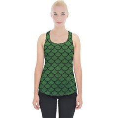 Scales1 Black Marble & Green Leather (r) Piece Up Tank Top