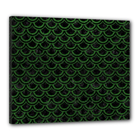 Scales2 Black Marble & Green Leatherscales2 Black Marble & Green Leather Canvas 24  X 20