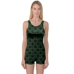 Scales2 Black Marble & Green Leatherscales2 Black Marble & Green Leather One Piece Boyleg Swimsuit