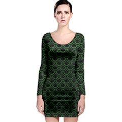 Scales2 Black Marble & Green Leatherscales2 Black Marble & Green Leather Long Sleeve Bodycon Dress