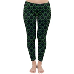 Scales2 Black Marble & Green Leatherscales2 Black Marble & Green Leather Classic Winter Leggings