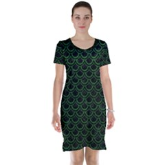 Scales2 Black Marble & Green Leatherscales2 Black Marble & Green Leather Short Sleeve Nightdress