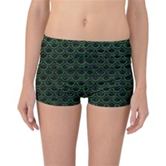 Scales2 Black Marble & Green Leatherscales2 Black Marble & Green Leather Reversible Boyleg Bikini Bottoms