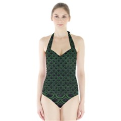 Scales2 Black Marble & Green Leatherscales2 Black Marble & Green Leather Halter Swimsuit