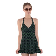 Scales2 Black Marble & Green Leatherscales2 Black Marble & Green Leather Halter Swimsuit Dress