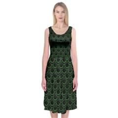 Scales2 Black Marble & Green Leatherscales2 Black Marble & Green Leather Midi Sleeveless Dress