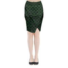 Scales2 Black Marble & Green Leatherscales2 Black Marble & Green Leather Midi Wrap Pencil Skirt