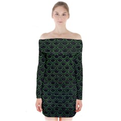 Scales2 Black Marble & Green Leatherscales2 Black Marble & Green Leather Long Sleeve Off Shoulder Dress