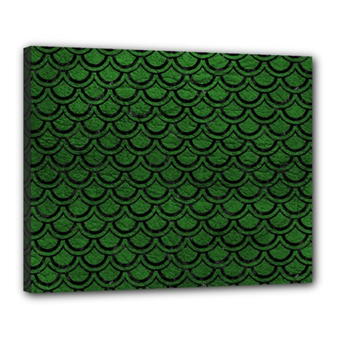 Scales2 Black Marble & Green Leather (r) Canvas 20  X 16