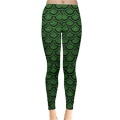 Scales2 Black Marble & Green Leather (r) Leggings
