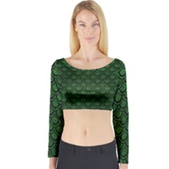 Scales2 Black Marble & Green Leather (r) Long Sleeve Crop Top