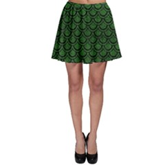 Scales2 Black Marble & Green Leather (r) Skater Skirt