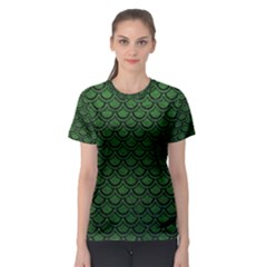 Scales2 Black Marble & Green Leather (r) Women s Sport Mesh Tee