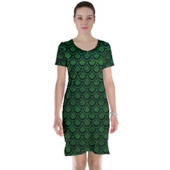 Scales2 Black Marble & Green Leather (r) Short Sleeve Nightdress