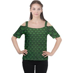 Scales2 Black Marble & Green Leather (r) Cutout Shoulder Tee