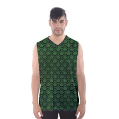 Scales2 Black Marble & Green Leather (r) Men s Basketball Tank Top