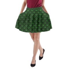 Scales2 Black Marble & Green Leather (r) A Line Pocket Skirt