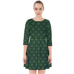 Scales2 Black Marble & Green Leather (r) Smock Dress