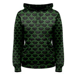 Scales3 Black Marble & Green Leather Women s Pullover Hoodie