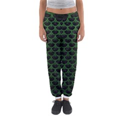 Scales3 Black Marble & Green Leather Women s Jogger Sweatpants
