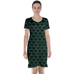 Scales3 Black Marble & Green Leather Short Sleeve Nightdress