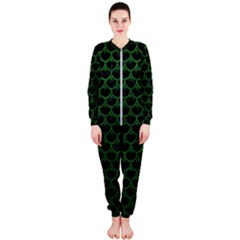 Scales3 Black Marble & Green Leather Onepiece Jumpsuit (ladies)