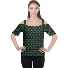 Scales3 Black Marble & Green Leather Cutout Shoulder Tee