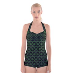 Scales3 Black Marble & Green Leather Boyleg Halter Swimsuit