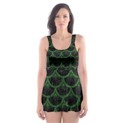 Scales3 Black Marble & Green Leather Skater Dress Swimsuit