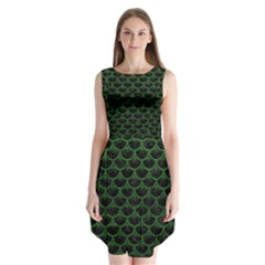 Scales3 Black Marble & Green Leather Sleeveless Chiffon Dress