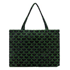 Scales3 Black Marble & Green Leather Medium Tote Bag